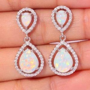 Silver White Hoop Dangle Earrings